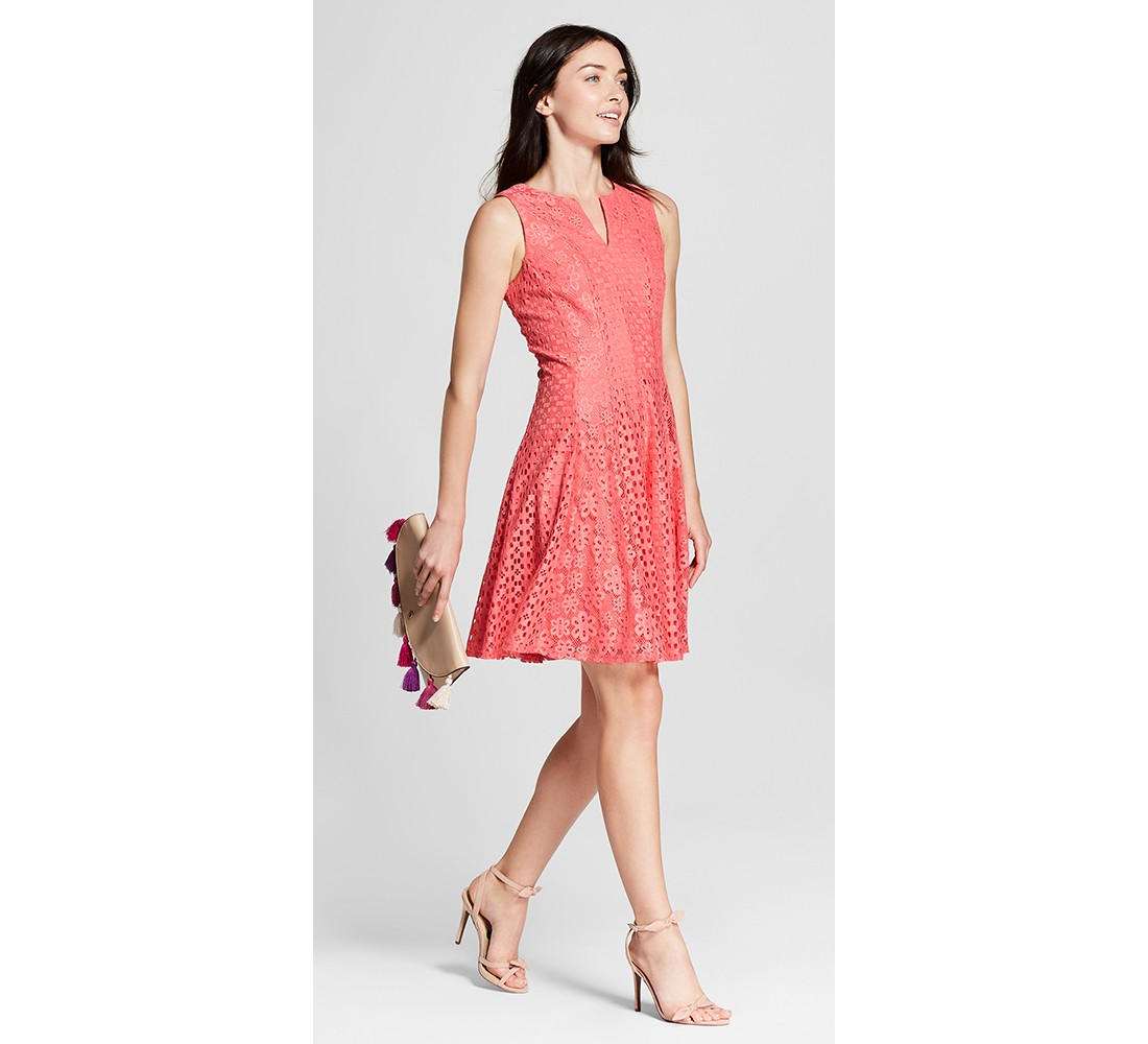 Women's Floral Lace Dress - Melonie T Coral, Tassel Flap Clutch - A New Day™, Women's Accent Heeled Ankle Strap Sandals - Who What Wear™