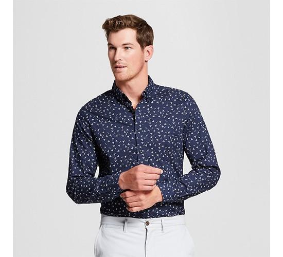 Men's Slim Fit Northrop Long Sleeve Button-Down Shirt - Goodfellow & Co™ True Navy