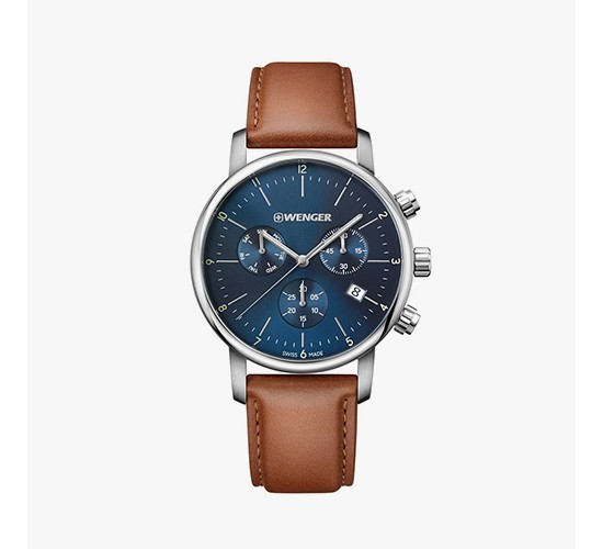 Men's Wenger Urban Classic Chrono - Swiss Made - Blue Dial Leather Strap watch - Brown