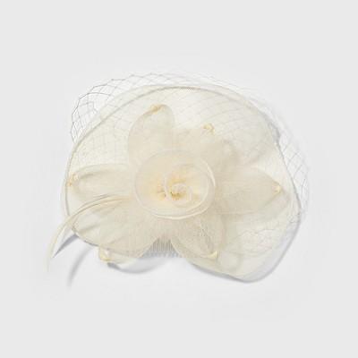 Women's Derby Fascinator with Flower - White