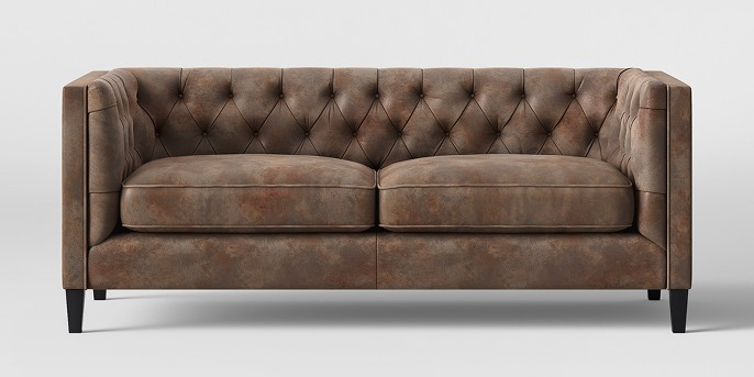 Lewes Tufted Sofa Tobacco Faux Leather Brown - Threshold™