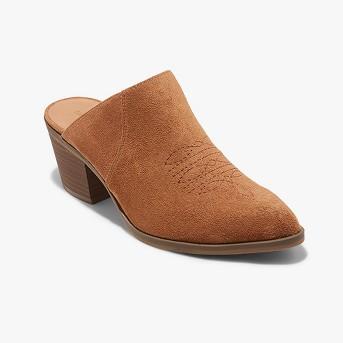 Women's Burgundy Western Heeled Mules - Universal Thread™