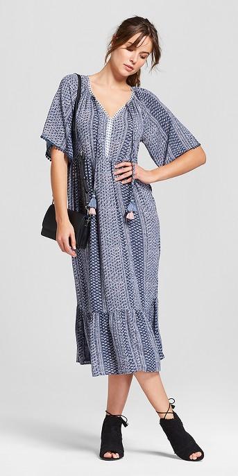 Women's Short Sleeve Pom Trim Printed Midi Dress - Knox Rose™ Slate Blue