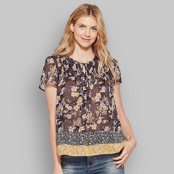 Women's Short Sleeve Smocked Mixed Print Peasant Top - Knox Rose™ Black