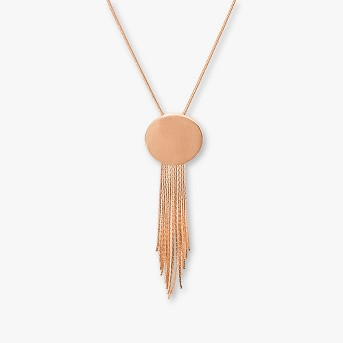 Round Disc with Chain Fringe Necklace - Universal Thread™ Rose Gold