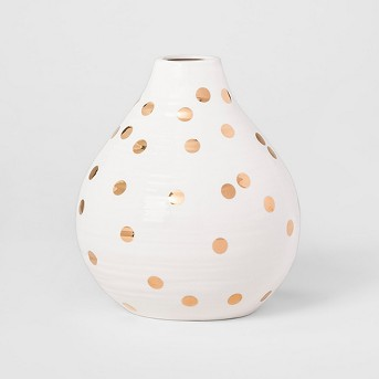 Vase - White and Gold Polka Dot - Opalhouse™