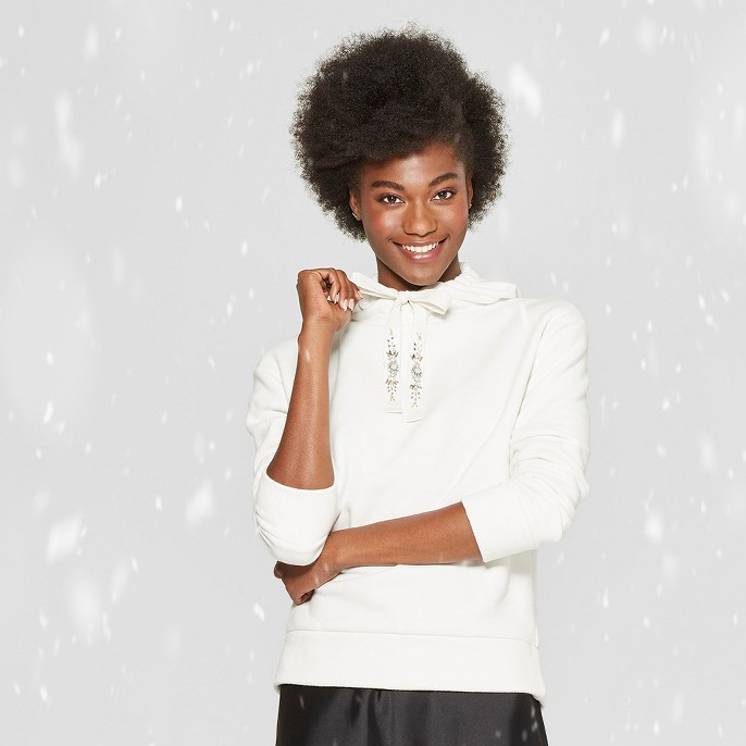 Women's Long Sleeve Embellished Drawcord Hoodie - A New Day™