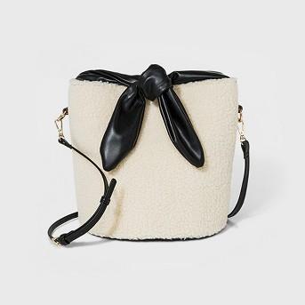 Top Handle Faux Fur Bucket Bag - Who What Wear™ Beige