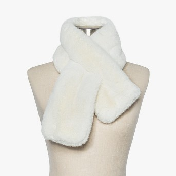 Women's Mini Faux Fur Pull Through Scarf - A New Day™