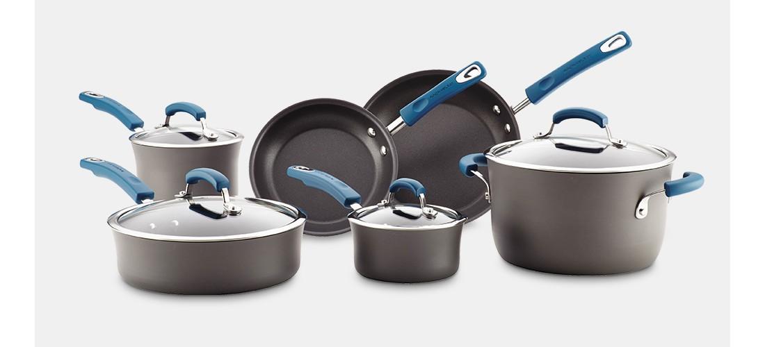 Rachael Ray Hard Anodized Nonstick 10 piece Cookware Set - Marine Blue Handles