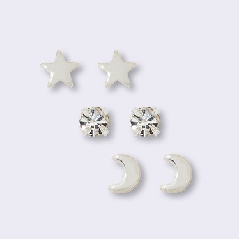 Pair of Star, Moon, and Cubic Zirconia Button Earring Set - A New Day™ Silver