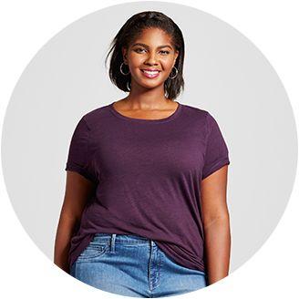 2119ab59cc9 Women s Plus Size Basic T-shirts   Tanks   Target