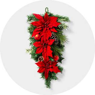 Red And White Christmas Wreath.White Christmas Wreaths Garland Target