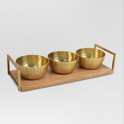 Decorative Metal Bowls w/Tray Gold 4pc - Threshold