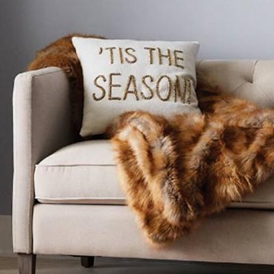 Tis The Season Throw Pillow (18 inch) - White - Threshold; Faux Fur Throw Blanket - Brown - Threshold