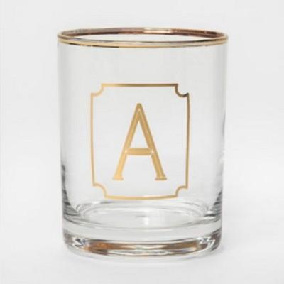 Monogram Double Old Fashioned Glassware with Gold Rim - 14oz - Threshold