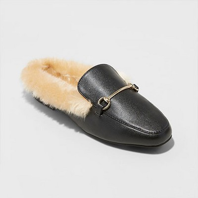 Women's Rebe Backless Loafer Mules - A New Day Black