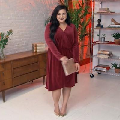 Women's Velvet Twist Front Dress - A New Day Burgundy