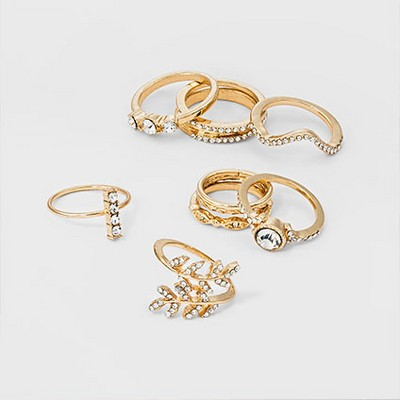 Women's Ring Set Ten Pack with Stones - Gold