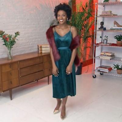 Women's Velvet Slip Dress - A New Day Green