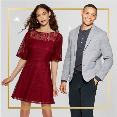 Women's Short Sleeve Lace Dress - Xhilaration™, Men's Standard Fit Knit Blazer - Goodfellow & Co™