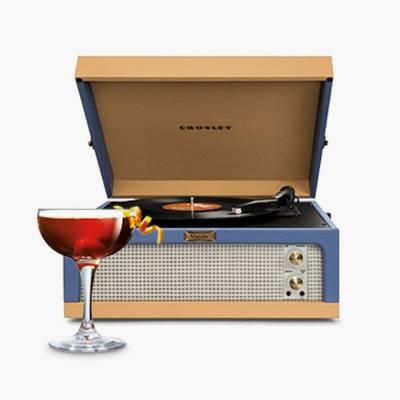 Crosley Dansette Junior Portable Record Player - Blue / Tan, Luminarc Barcraft 5.5oz Coupe Cocktail Glass - Set of 4