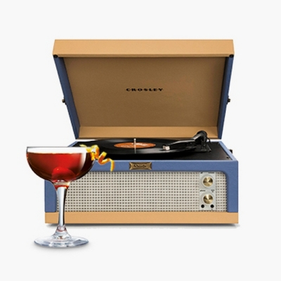 Crosley Dansette Junior Portable Record Player - Blue / Tan, Luminarc Barcraft 5.5oz Coupe Cocktail Glass - Set of 4