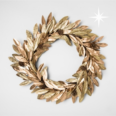 "22"" Christmas Champagne Gold Leaves Prelit Artificial Wreath Warm White B/O LED Lights - Wondershop™"