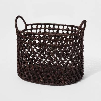 Dark Woven Cane Basket - Threshold™