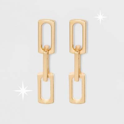 Open Work Teardrop Shape Metal Drop Earrings - A New Day™ Gold