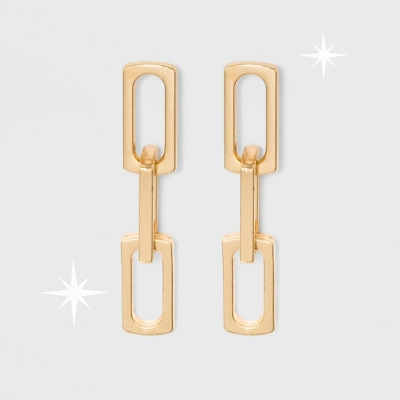 Open Work Teardrop Shape Metal Drop Earrings - A New Day™ Gold