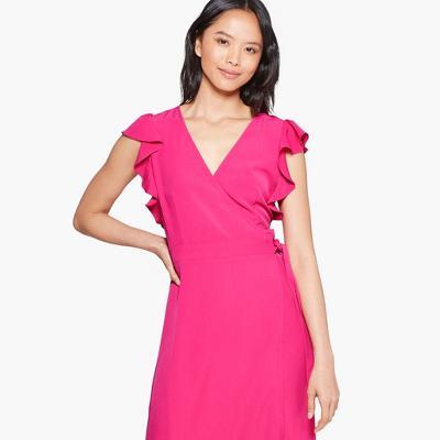 Women's Short Flutter Sleeve V-Neck A Line Midi Dress - Who What Wear™