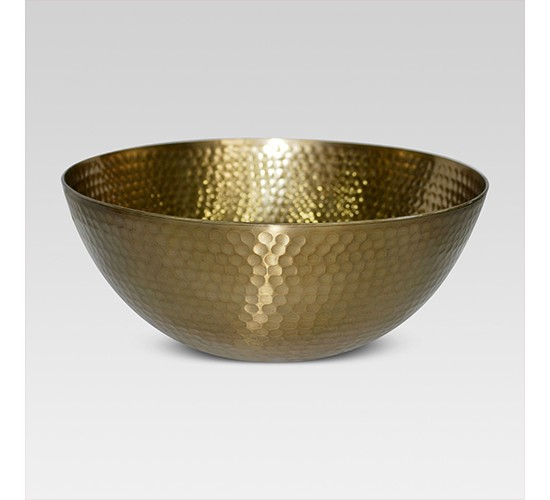 Hammered Large Serving Bowl with Gold Finish - Threshold™