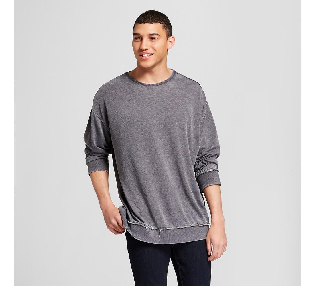 Men's Drop Shoulder Crew Neck Pullover Sweatshirt - Jackson™ Charcoal