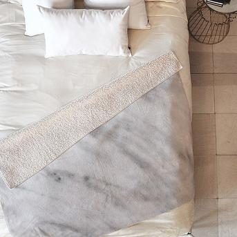 Gray Geometric Emanuela Carratoni Italian Marble Carrara Sherpa Throw Blanket (50