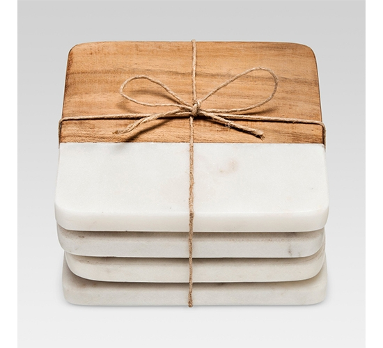 Marble & Wood Coasters Set of 4White/Brown - Threshold™