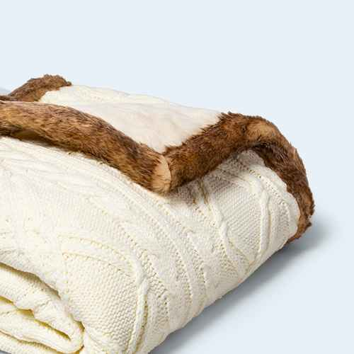Cable Knit Throw Blanket with Mink Faux Fur Reverse and Faux Fur Trim - Threshold™