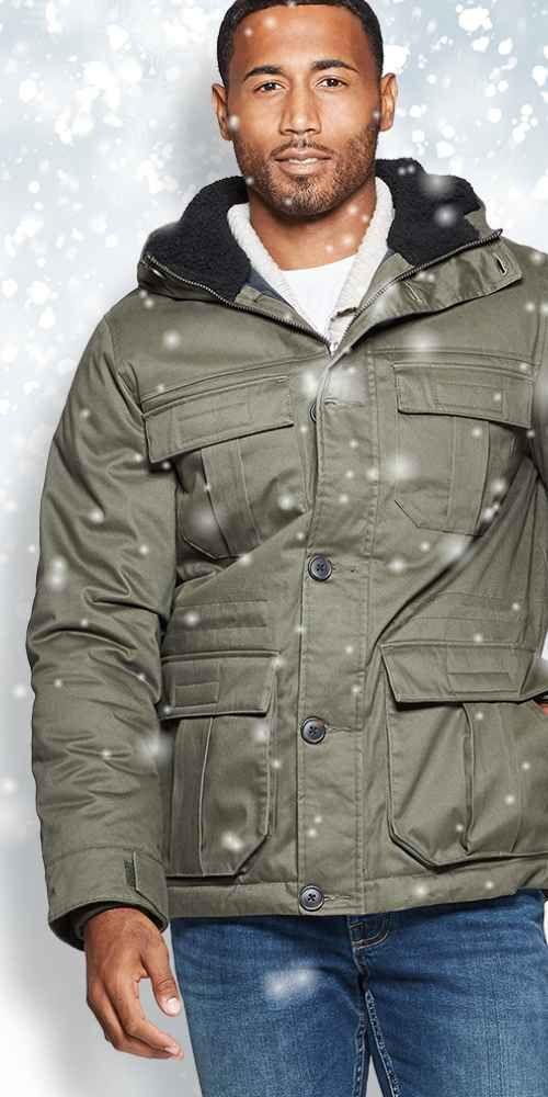 Men's Four-Pocket Sherpa Lined Parka - Goodfellow & Co™ Olive
