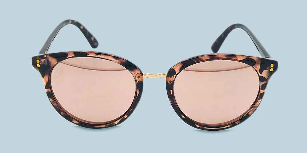 Women's Round Tort Sunglasses with Rose Gold Mirrored Lenses - A New Day™ Brown