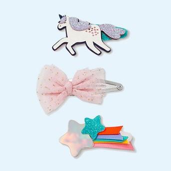 Girls' 3pk Unicorn Clips - Cat & Jack™