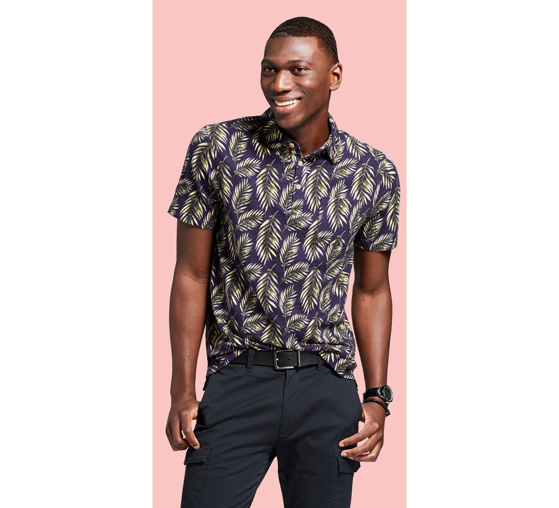 Men's Standard Fit Short Sleeve Polo Shirt - Goodfellow & Co™ Palm Tree