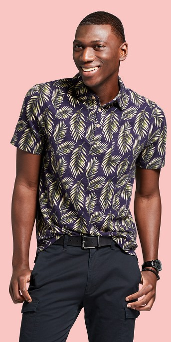 Men's Standard Fit Short Sleeve Polo Shirt - Goodfellow & Co™ Palm Tree