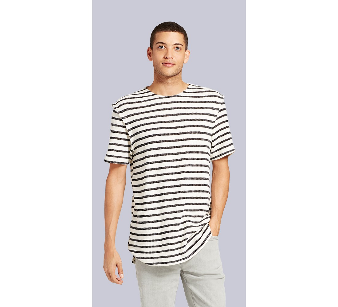 Men's Short Sleeve Dropped Shoulder T-Shirt - Jackson™ Black Stripe