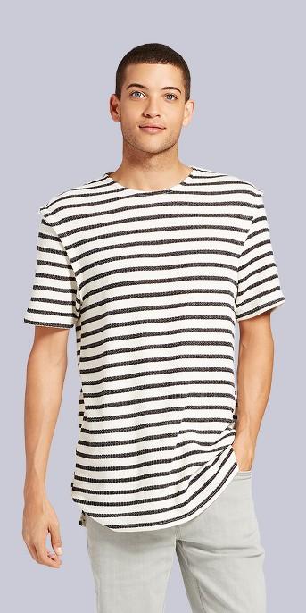 Men's Short Sleeve Dropped Shoulder T-Shirt - Jackson™ Black Stripe