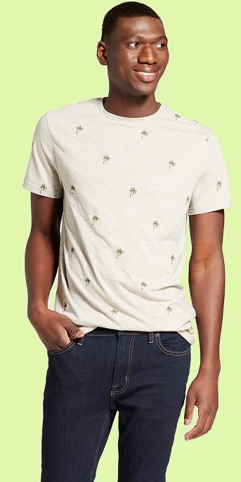 Men's Standard Fit Short Sleeve Crew Neck T-Shirt - Goodfellow & Co™ Palm Tree