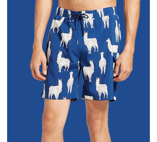 Men's Llama Swim Trunks - No Retreat Navy