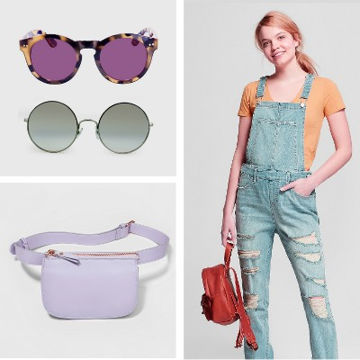 Women's Oversized Round Sunglasses with Blue Gradient Lenses - Silver, Women's Round Sunglasses with Solid Purple Lens - Brown, Women's Destructed Skinny Jean Overalls - Mossimo Supply Co.™ Light Wash