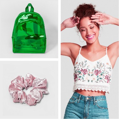 Women's Mini Jelly Backpack Handbag - Mossimo Supply Co.™, Fashion Scrunchie Velvet Hair elastics - Pink, Women's Floral Print Sleeveless Embroidered Crop Top - Xhilaration™ Off White
