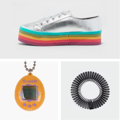 Girls' Kenya Rainbow Platform Sneakers - art class™, Tamagotchi - Yellow/Purple, Conair Basic Stretch Combs - 3pc