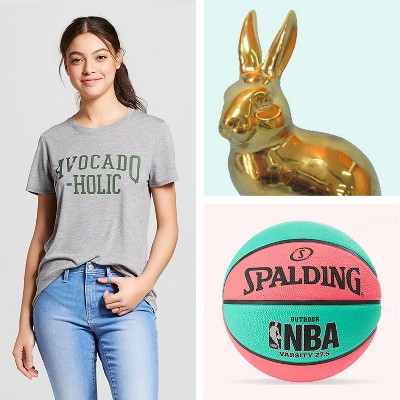 "Women's Avocado-Holic Short Sleeve Crew Neck T-Shirt - Modern Lux (Juniors') - Heather Gray, Ceramic Bunny Figurine Gold Finish 6.6"" - Threshold™, Spalding Varsity 27.5"" Basketball - Teal/Salmon"